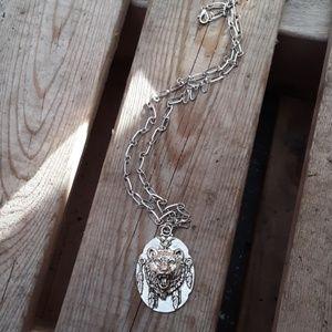 Tibetan silver bear necklace